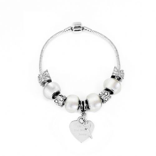 Personalised Key Charm Bracelet - Ice White - 18cm